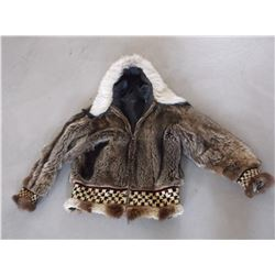 Raccoon Coat- Coyote Trimmed- Handmade- Native Design on Cuffs and Bottom of Coat- Slight Damage
