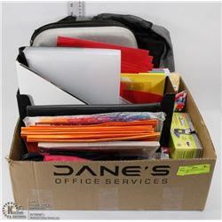LARGE BOX OF OFFICE/SCHOOL SUPPLIES -