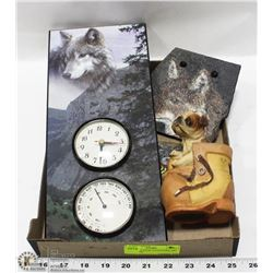 DOG PIGGY BANK WITH STONE ART AND CLOCK