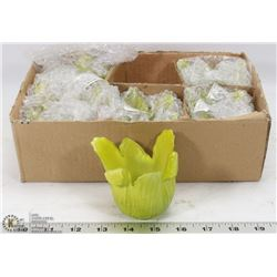NEW 6PC GREEN MILK GLASS LILY VOTIVE HOLDERS