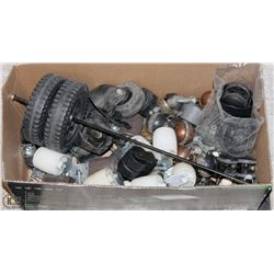 LARGE BOX FULL OF CASTORS AND WHEELS -
