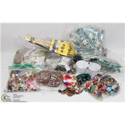 BOX OF ASSORTED JEWELRY, BEADS AND ETC