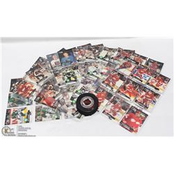 FLAT OF ASSORTED HOCKEY CARDS IN PLASTIC SHEETS