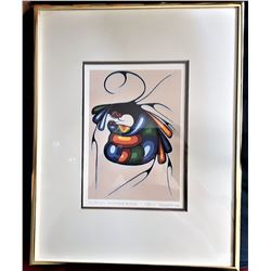 6)  FRAMED & DOUBLE MATTED UNDER GLASS