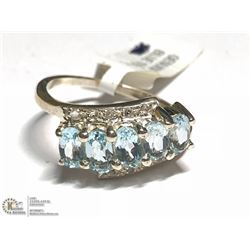 SILVER BLUE TOPAZ AND CZ RING (APP 2.6G) SIZE 7