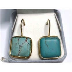 SILVER GOLD PLATED TURQUOISE EARRINGS (APP 5G)
