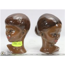 2 CERAMIC FACES/BUSTS  OF A BOY AND GIRL