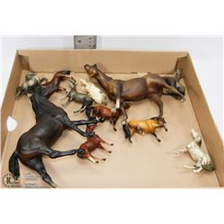 FLAT OF COLLECTIBLE BREYER HORSE FIGURINES