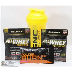 NEW SHAKER CUP/ W 2 ALLMAX CHOCOLATE PROTEIN
