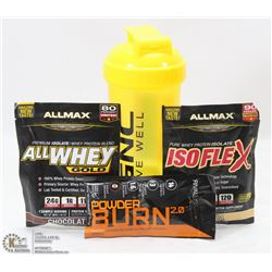 NEW SHAKER CUP/ W 2 ALLMAX PROTEIN SHAKES 1