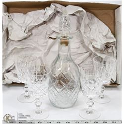 4 CRYSTAL BRANDY GLASSES AND DECANTER
