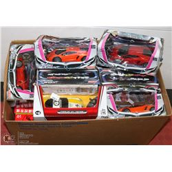 BOX OF NEW REMOTE CONTROL CARS- ASSORTED