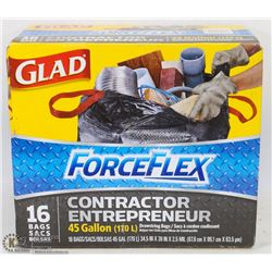 NEW GLAD FORCE FLEX CONTRACTOR BAGS