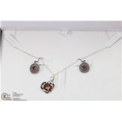 STERLING SILVER SET WITH HEART PENDANT, EARRINGS,