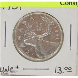 43) 1951 UHC 25 SILVER QUARTER