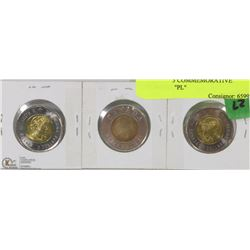 "27) SET OF 3 COMMEMORATIVE TWOONIES ""PL"""