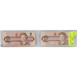 LOT OF 2 -1986 CANADIAN $2 ROBIN DOLLAR BILLS ,