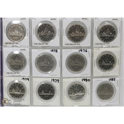 """45) SHEET OF 12 $1 DOLLAR CANADIAN COINS SOME """"PL"""""""