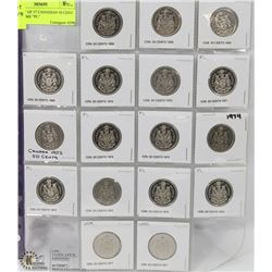 """46) SHEET OF 17 CANADIAN 50 CENT COINS SOME """"PL"""""""