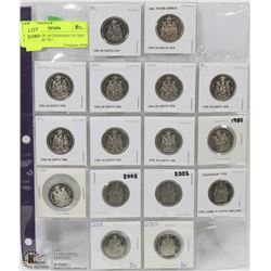 """47) SHEET OF 16 CANADIAN 50 CENT COINS SOME """"PL"""""""