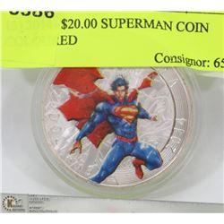 13) 2014- $20.00 SUPERMAN COIN COLOURED