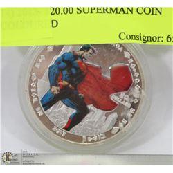14) 2013- $20.00 SUPERMAN COIN COLOURED
