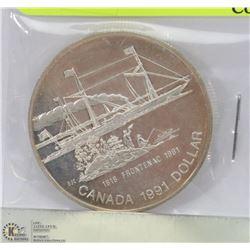 1991 CANADIAN FRONTENAC SILVER DOLLAR 25GRAMS