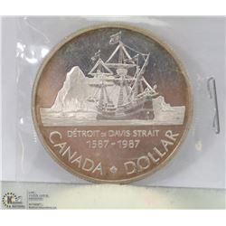 1987 CANADIAN DAVIS STRAIT  SILVER DOLLAR 25GRAMS