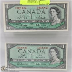 LOT OF 2 CANADIAN 1954 BILLS WITH SEQUENTIAL S/N'S