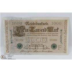 GERMAN UNCIRCULATED 1000 MARK 1910 BANK NOTE.