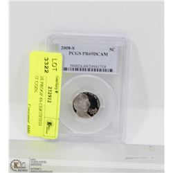2008-S PCGS PROOF 69 CERTIFIED USA 5 CENT COIN.
