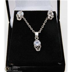 CUBIC ZIRCONIA WITH GOLD FILLED PARTY SKULL HEAD