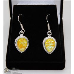 #67-AUSTRALIA FIRE OPAL GEMSTONE EARRINGS