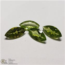 175) 4 PERIDOTS, MARQUISE SHAPE, APPROX 4 CTS