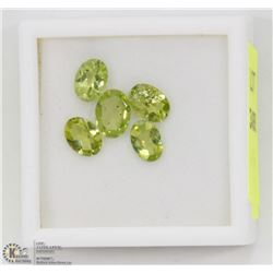 180) 5 PERIDOTS, OVAL, APPROX 4 CTS