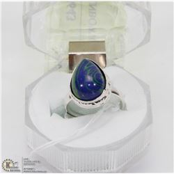 #48-NATURAL RAINBOW CALSILICA GEMSTONE RING