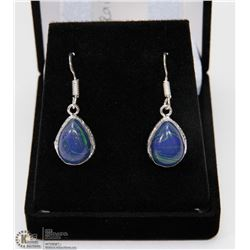 #47-NATURAL RAINBOW CALSILICA GEMSTONE EARRINGS