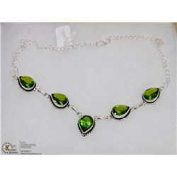 #86-GREEN PERIDOT GEMSTONE NECKLACE