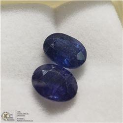 177) 2 ENHANCED BLUE SAPPHIRES, 9X7MM OVALS,