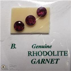176) 3 GENUINE RHODOLITE GARNETS, ROUNDS,