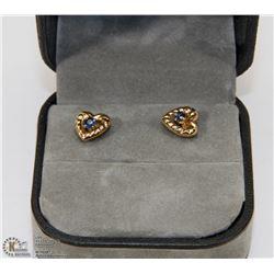 81) 10KT GOLD SAPPHIRE HEART SHAPED EARRINGS