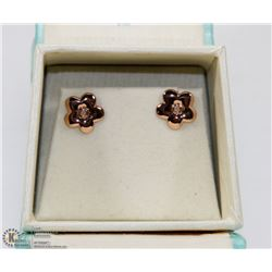 76) ROSE GOLD PLATED SILVER DIAMOND EARRINGS