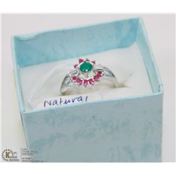 113) NATURAL RUBY ,EMERALD AND CUBIC ZIRCONIA RING