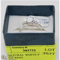 141) NATURAL WHITE FIRE OPAL AND CZ RING