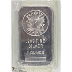 .999 SILVER ONE TROY OUNCE BAR.