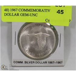 48) 1967 COMMEMORATIVE SILVER DOLLAR GEM-UNC