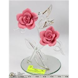 ART GLASS HUMMINGBIRD & FLOWER CENTERPIECE