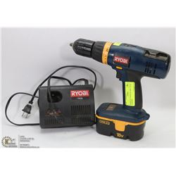 RYOBI 18V CORDLESS DRILL WITH CHARGER & BATTERY