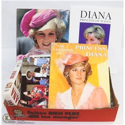 LOT OF LADY DIANA MEMORABILIA INCL BOOKS AND VHS