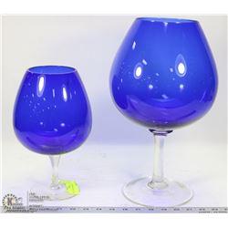 2 BLUE ART GLASS VASES /WINE GOBLETS
